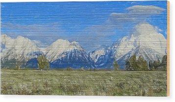 Rustic Grand Teton Range On Wood Wood Print by Dan Sproul