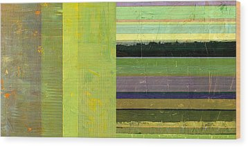 Wood Print featuring the painting Rustic Green Flag With Stripes by Michelle Calkins