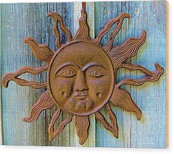 Rustic Sunface Wood Print
