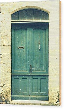 Rustic Teal Green Door Wood Print by Georgia Fowler