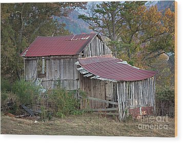 Wood Print featuring the photograph Rustic Weathered Hillside Barn by John Stephens