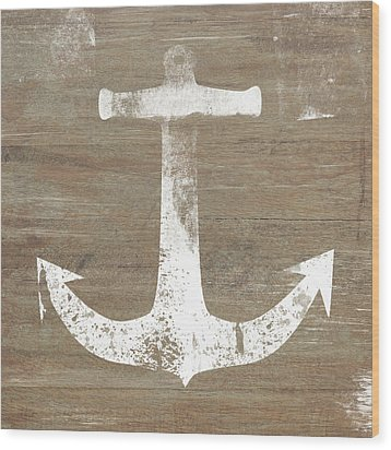 Wood Print featuring the mixed media Rustic White Anchor- Art By Linda Woods by Linda Woods