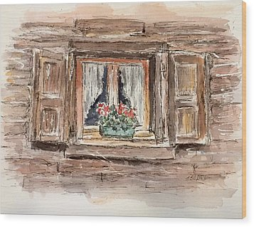 Rustic Window Wood Print by Stephanie Sodel