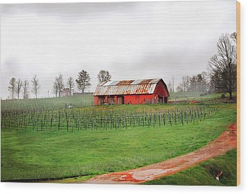 Rustic Wine Wood Print by Robert Smith