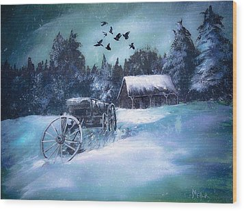Rustic Winter Barn  Wood Print by Michele Carter