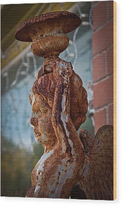 Wood Print featuring the photograph Rusty Angel by Linda Unger