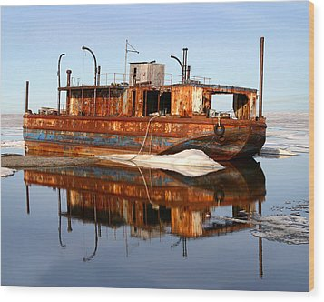 Rusty Barge Wood Print by Anthony Jones