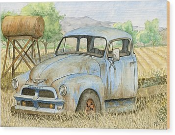 Rusty Blue Chevy Wood Print