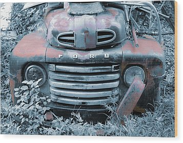 Rusty Blue Ford Wood Print