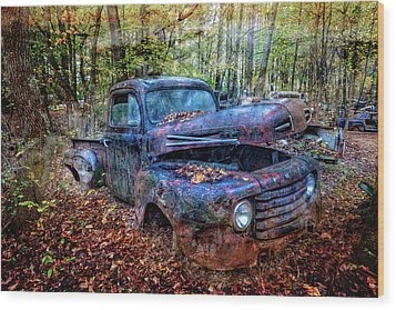 Wood Print featuring the photograph Rusty Blue Vintage Ford  Truck by Debra and Dave Vanderlaan