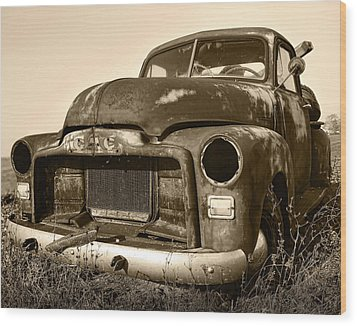 Rusty But Trusty Old Gmc Pickup Truck - Sepia Wood Print