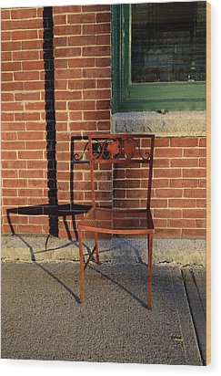 Wood Print featuring the photograph Rusty Chair At Sunset by Corinne Rhode