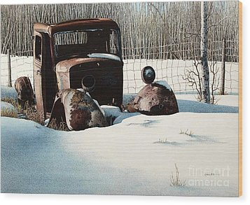 Rusty In Alberta Wood Print by Robert Hinves