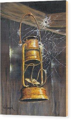 Rusty Lantern Wood Print by Bob Hallmark