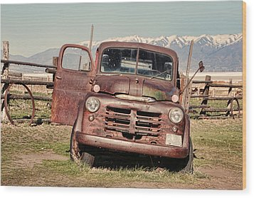 Wood Print featuring the photograph Rusty Old Dodge by Ely Arsha