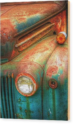 Rusty Old Ford Wood Print by Randy Pollard