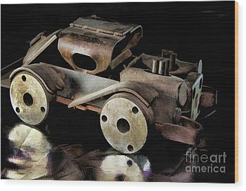 Wood Print featuring the photograph Rusty Rat Rod Toy by Wilma Birdwell