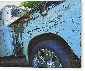 Rusty Truck With Shiny Rims Wood Print by Ramona Johnston