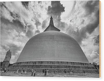 Wood Print featuring the photograph Ruwanwelisaya, Anuradhapura, 2012 by Hitendra SINKAR