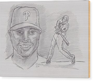 Wood Print featuring the drawing Ryan Howard The Big Piece by Chris  DelVecchio