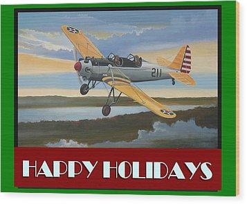 Wood Print featuring the digital art Ryan Pt-22 Happy Holidays by Stuart Swartz