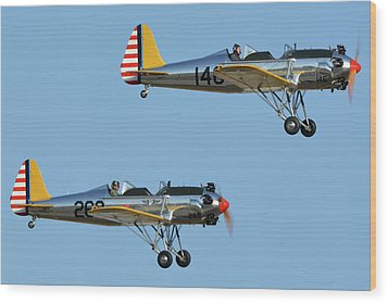 Ryan Pt-22 N48777 146 And Pt-22 N48742 269 Chino California April 29 2016 Wood Print by Brian Lockett
