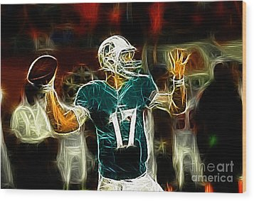 Ryan Tannehill - Miami Dolphin Quarterback Wood Print by Paul Ward