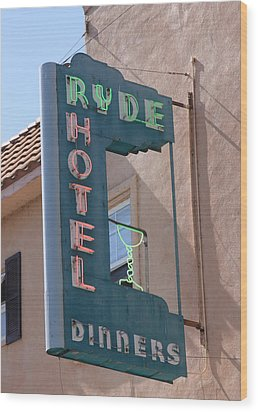 Ryde Hotel Sign Wood Print by Troy Montemayor