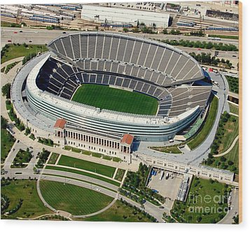 S-004 Soldier Field Close Up Chicago Illinois Wood Print