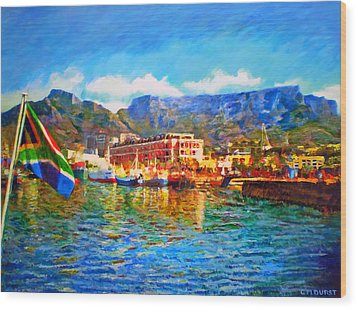 Sa Flag At The Waterfront Wood Print by Michael Durst