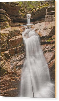 Sabbaday Falls Wood Print by Brenda Jacobs