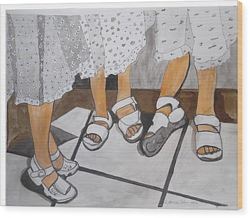 Wood Print featuring the painting Sabbath Sandals by Esther Newman-Cohen