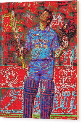 Sachin Tendulkar-100th 100-god Of Criket Wood Print by Piety Dsilva