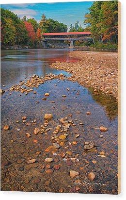 Saco River Bridge 8942 Wood Print by Dan Beauvais
