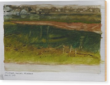 Saco River Maine Wood Print by Robert Bissett