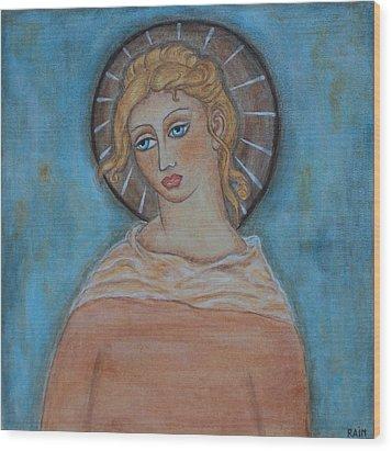 Sacred Angel Wood Print by Rain Ririn