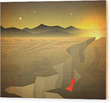 Wood Print featuring the digital art Sacred Desert Vista by Milton Thompson