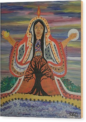 Sacred Feminine Wood Print by Carolyn Cable