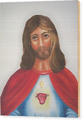 Sacred Heart Of Jesus Wood Print by Joni McPherson