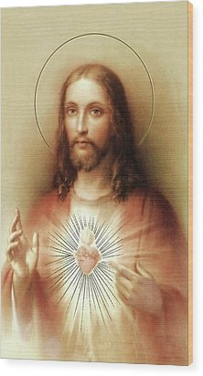 Wood Print featuring the mixed media Sacred Heart Of Jesus by Movie Poster Prints