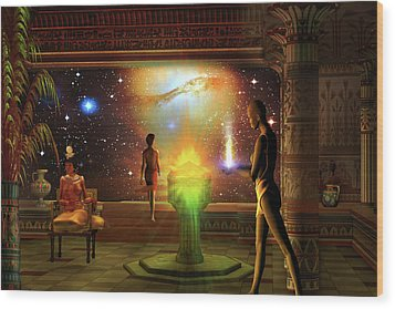 Wood Print featuring the digital art Sacred Journey To Another World by Shadowlea Is