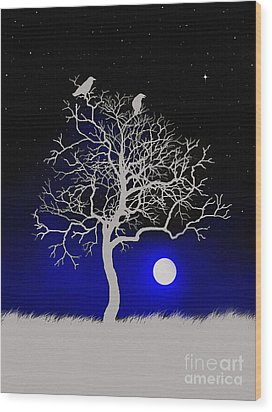 Sacred Raven Tree Wood Print by Robert Foster