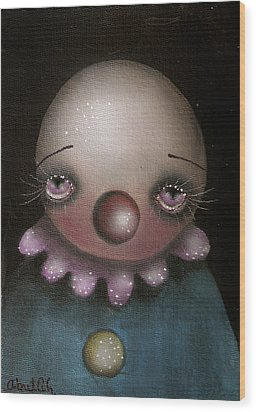 Sad Clown Wood Print by  Abril Andrade Griffith