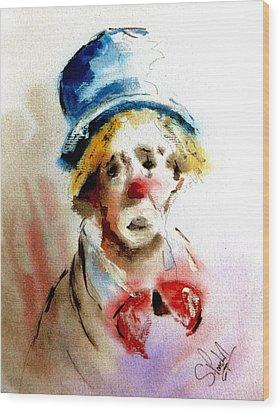 Sad Clown Wood Print by Steven Ponsford