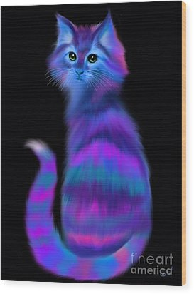 Wood Print featuring the painting Sad Eyed Colorful Cat by Nick Gustafson