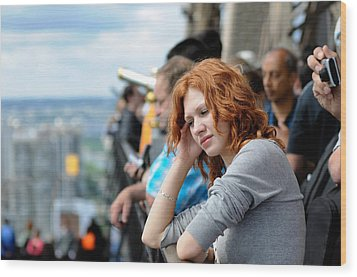 Sad Girl In The Crowd Wood Print by Evgeny Ivanov