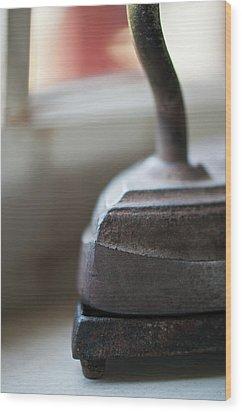 Sad Iron Wood Print by Wilma  Birdwell