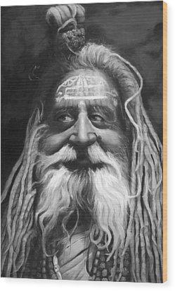Sadhu  Wood Print by Enzie Shahmiri