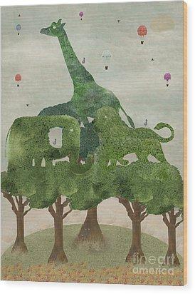 Wood Print featuring the painting Safari Wood by Bri B
