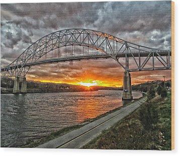 Sagamore Bridge Sunset Wood Print